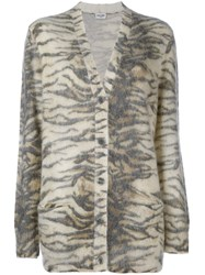 Saint Laurent Mohair Animal Print Cardigan Nude And Neutrals
