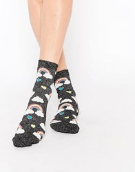 Asos Rainbow Cloud And Heart Ankle Socks Black Pink