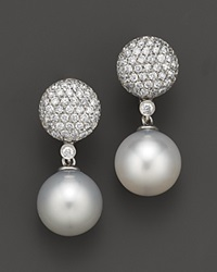 Bloomingdale's Cultured White South Sea Pearl And Diamond Drop Earrings In 14K White Gold