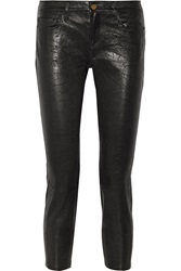 Frame Denim Le Garcon Textured Leather Slim Boyfriend Pants
