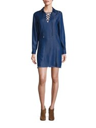 7 For All Mankind Lace Up Chambray Dress Pacific Rinse