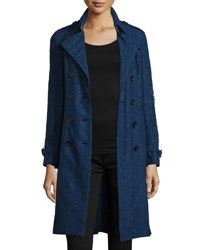 Burberry Double Breasted English Lace Trenchcoat Navy