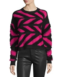Public School Inlay Cross Knit Pullover Sweater Pink