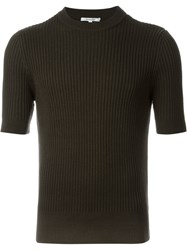 Carven Short Sleeve Ribbed Sweater Green