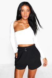 Boohoo Long Sleeve Wrap Top Cream