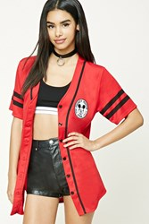 Forever 21 Mickey Mouse Baseball Jersey Red Black