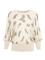 Lavand Pull Over With Feather Print Beige