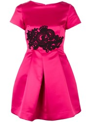 P.A.R.O.S.H. Lace Applique Satin Dress Pink Purple