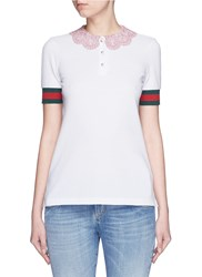 Gucci Macrame Collar Stripe Trim Pique Polo Shirt White