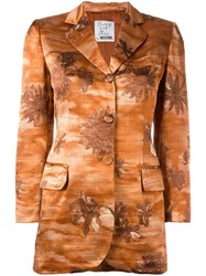 Moschino Vintage Flower Patterened Jacket Brown