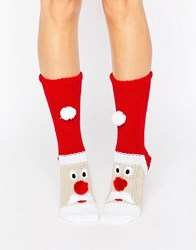 Loungeable Chunky Knit Santa Christmas Sock Red