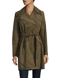 Karl Lagerfeld Fringed Faux Suede Trench Coat Green