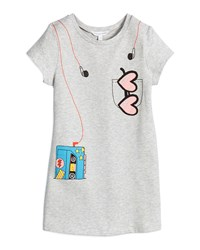 Little Marc Jacobs Short Sleeve Tape Deck Trompe L'oeil Dress Gray Size 4 5 Girl's Size 4 Light Gray