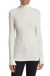 Enza Costa Women's Split Cuff Knit Turtleneck Winter White