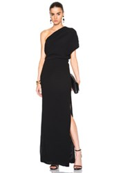 Sally Lapointe Crinkle Viscose One Shoulder Dress In Black