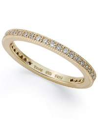B. Brilliant 18K Rose Or Yellow Gold Over Sterling Silver Or Sterling Silver Ring Cubic Zirconia Band Ring 3 8 Ct. T.W.