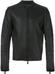 Marcelo Burlon County Of Milan Zipped Leather Jacket Black