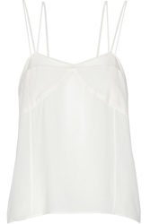 Sandro Mesh Trimmed Silk And Crepe Tank White