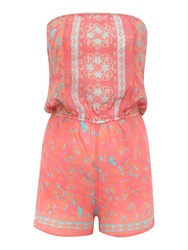 Lipsy Strapless Floral Print Michelle Keegan Playsuit Pink