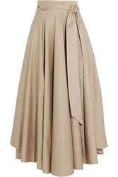 Tibi Obi Cotton Crepe Maxi Skirt Beige