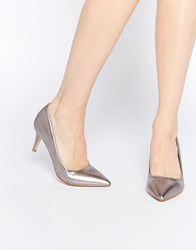 Oasis Metallic Court Shoes Pewter