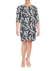 Junarose Elwa Three Quarter Sleeve Floral Print Shift Dress Black Iris