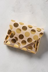 Anthropologie Mini Polka Dotted Wallet Gold