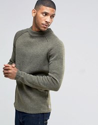 Bellfield Reverse Seam Turtle Neck Knitted Jumper Khaki Green