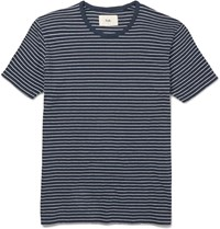 Folk Slim Fit Striped Cotton Jersey T Shirt Blue