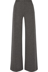 Adam By Adam Lippes Melange Wool Wide Leg Pants Charcoal