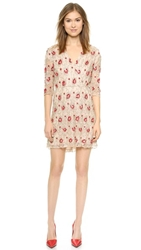Alice Olivia Arlie Cross Front High Low Dress Nude Red