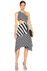 Thierry Mugler Mugler My Fair Lady Striped Cut Out Dress In Black White Stripes