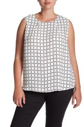 Susina Sleeveless Zip Back Shell Blouse Plus Size White Snow Grid