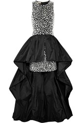 Michael Kors Asymmetric Crystal Embellished Wool And Shantung Gown Black