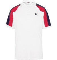 Boast Pique Panelled Stretch Jersey Polo Shirt White