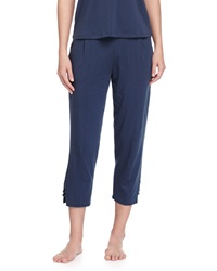 Skin Voile Trimmed Cropped Lounge Pants Azure