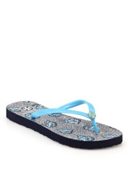 Tory Burch Logo Rubber Thong Sandals Turquoise