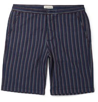 Oliver Spencer Striped Cotton Shorts Blue