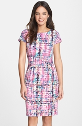 Print Jersey Sheath Dress Pink Multi