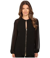Versace Blouse With Gold Embellished Front V Neck Black