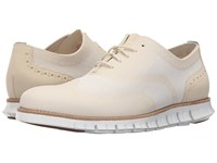 Cole Haan Zerogrand Ox No Stitch Ivory Optic White Men's Lace Up Wing Tip Shoes Beige