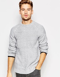 Another Influence Intarsia Stripe Jumper Grey