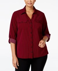 Ny Collection Plus Size Striped Utility Shirt Magenta Line