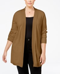 Karen Scott Plus Size Open Front Cardigan Only At Macy's Chestnut Heather