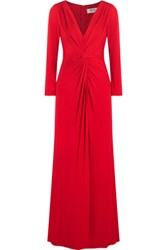 Badgley Mischka Twist Crepe Gown Red