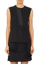 Paco Rabanne Asymmetric Placket Sleeveless Top Black