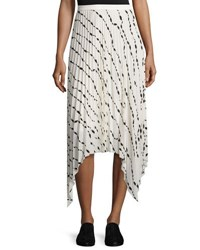 Helmut Lang Pleated Printed Silk Midi Skirt White Parchment
