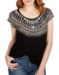 Lucky Brand Textured Cap Sleeve Top Jet Black
