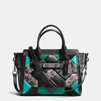 Coach Canyon Quilt Swagger 27 In Exotic Embossed Leather Dark Gunmetal Black Turquoise M
