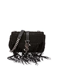 Monogram Baby Chain Serpent Crochet Crossbody Bag Black Saint Laurent
